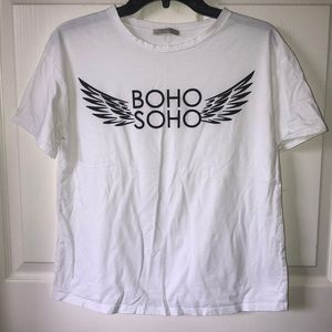 White T-shirt with black graphic design